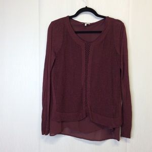 Lucky Brand Deep Red Layered Top Size Large L